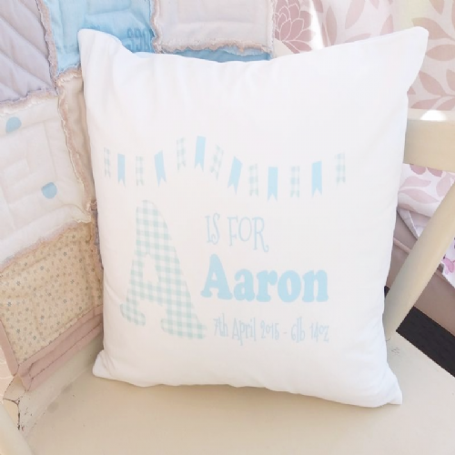 Large Soft Personalised Baby Details Cushion